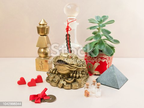 Feng Shui art of harmony of space. Various baubles symbolizing feng shui: Wind music, Chinese coins, pyramid, pagoda, frog, lilac napkin, aroma, salty water. Cozy house. Succulent.