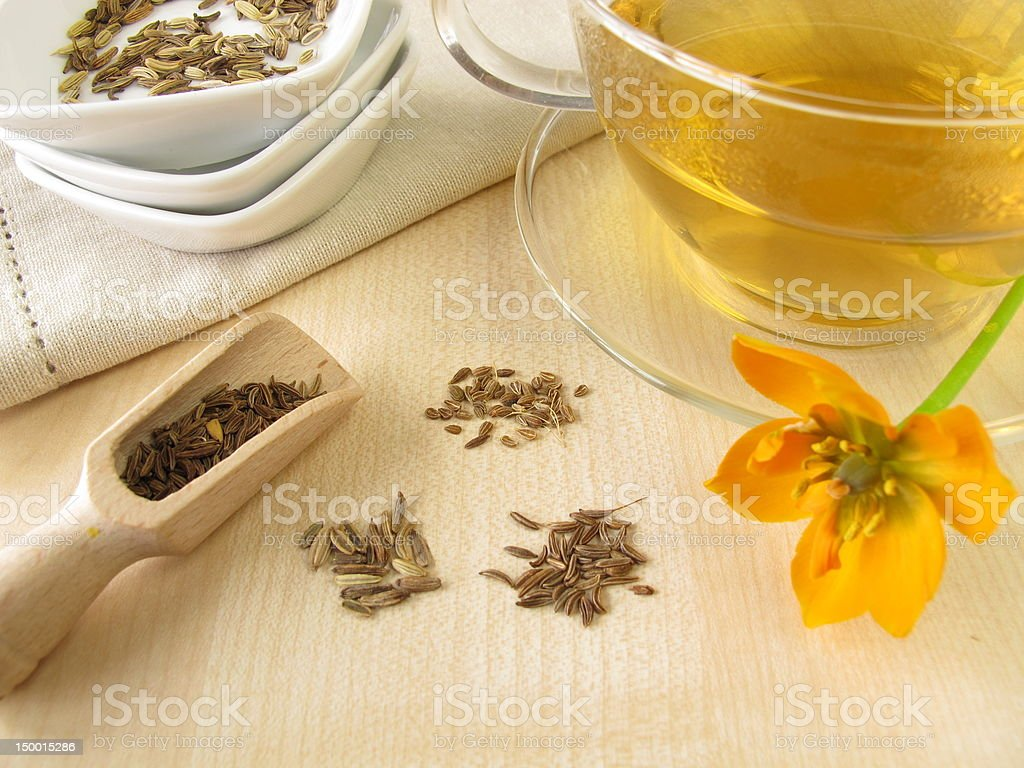 Fennel anise caraway tea stock photo