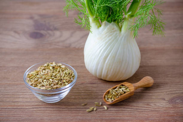 fennel bulb and seeds in a wooden scoop and glas bowl on brown background fennel bulb and seeds in a scoop and bowl, on wooden background fennel stock pictures, royalty-free photos & images