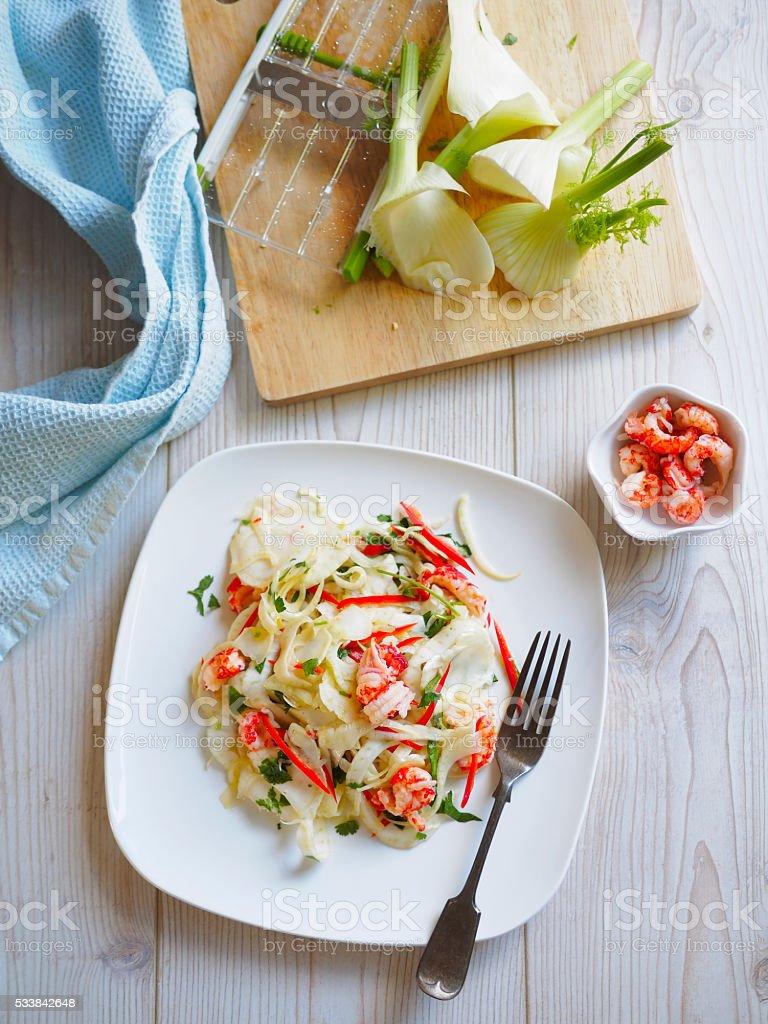 fennel crayfish salad stock photo