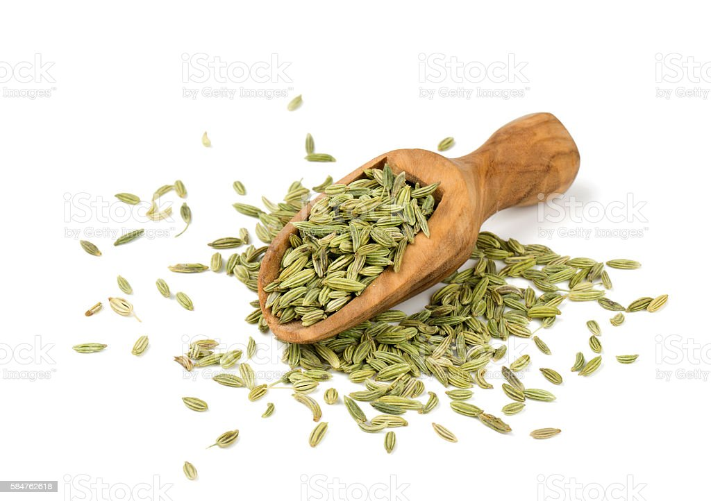 fennel seeds isolated on white background stock photo