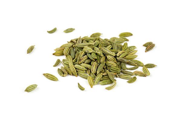 Fenchel Samen isoliert auf weißem Hintergrund – Foto