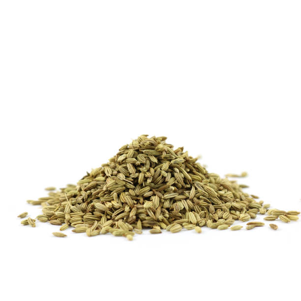 PILE OF SPICES - fennel seeds stock photo