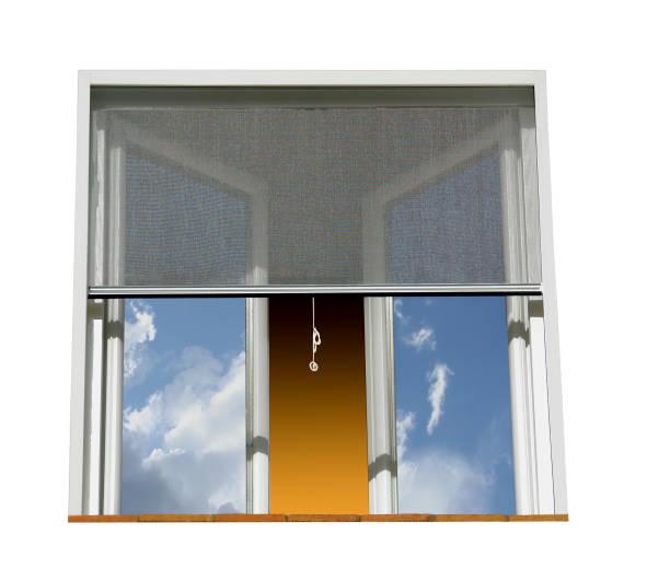 Fenêtre et moustiquaire Fenêtre protégée des insectes par une moustiquaire durant un temps orageux. netting stock pictures, royalty-free photos & images