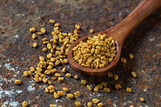 fenugreek seeds in wooden spoon - fenugrec photos et images de collection