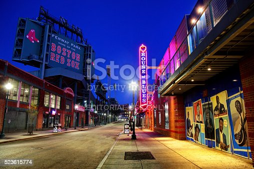 Boston, Massachusetts, USA - April 24, 2016: Night view of Fenway Park and the House of Blues along Landsdowne Street in the Fenway–Kenmore neighborhood.