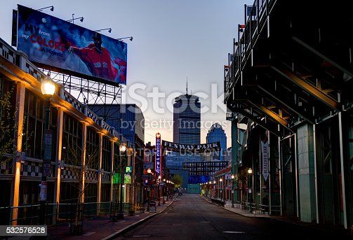 Boston, Massachusetts, USA - April 24, 2016: Morning view of Fenway Park and the House of Blues along Landsdowne Street in the Fenway–Kenmore neighborhood.