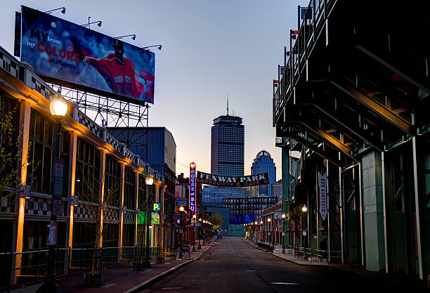 Fenway Park and the House of Blues along Landsdowne Street Boston, Massachusetts, USA - April 24, 2016: Morning view of Fenway Park and the House of Blues along Landsdowne Street in the Fenway–Kenmore neighborhood. major league baseball stock pictures, royalty-free photos & images