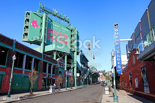 Boston, Massachusetts, USA - April 24, 2016: Daytime view of Fenway Park and the House of Blues along Landsdowne Street in the Fenway–Kenmore neighborhood.