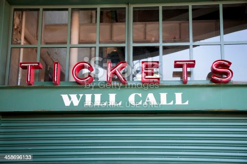Boston, MA, USA- July 26, 2008: Will call ticket gate at Fenway Park in Boston. Note the shade of green used at Fenway Park is a closely guarded secret by the Boston Red Sox
