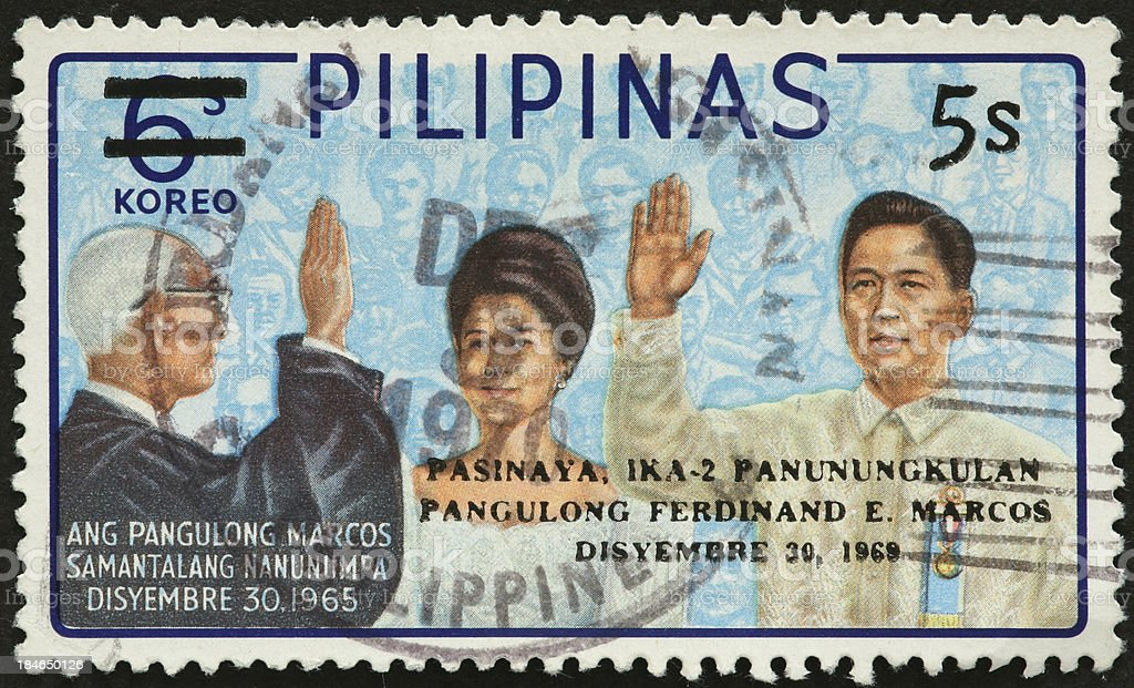Ferdinand Marcos and wife being sworn in as Philippine President royalty-free stock photo