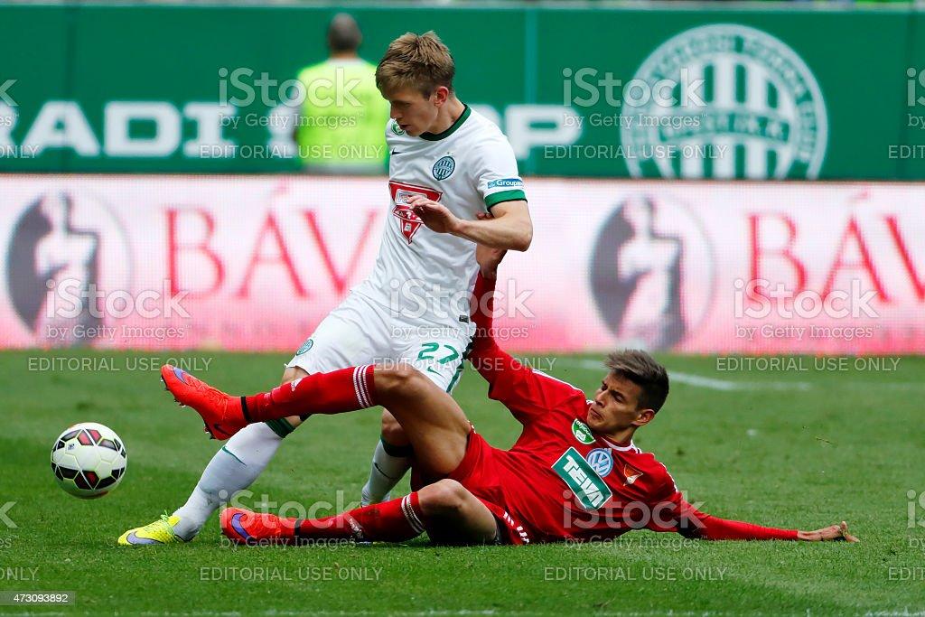 Ferencvaros vs. DVSC football match stock photo