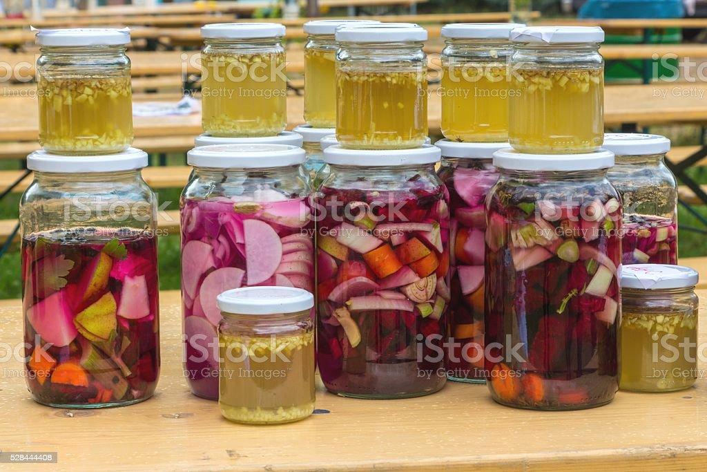 Fermentation in bottles stock photo