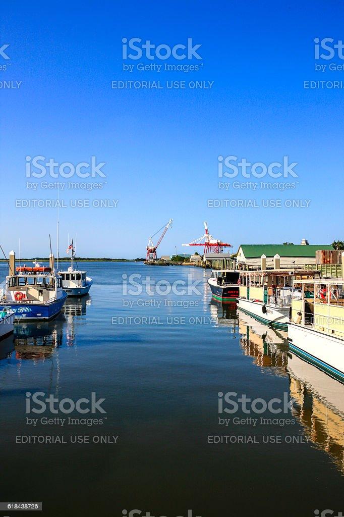 Fernandina Beach City Marina on the St. Mary's River, Florida stock photo