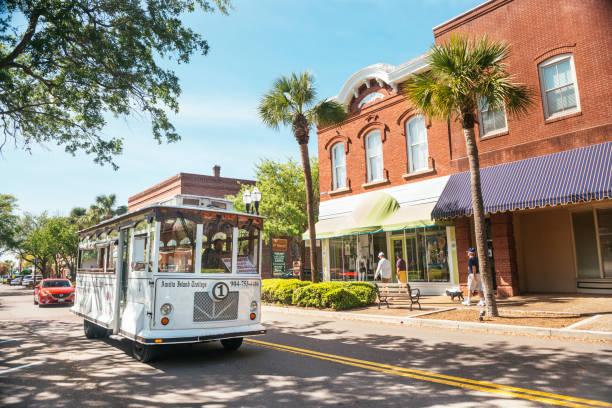 Fernandina Beach Trolley Tour Drives Main Street Amelia Island Florida stock photo