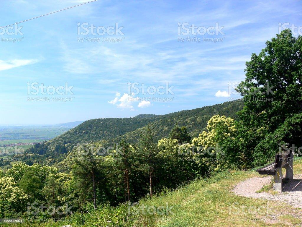 Fernblick in eine hügelige-waldreiche Landschaft stock photo