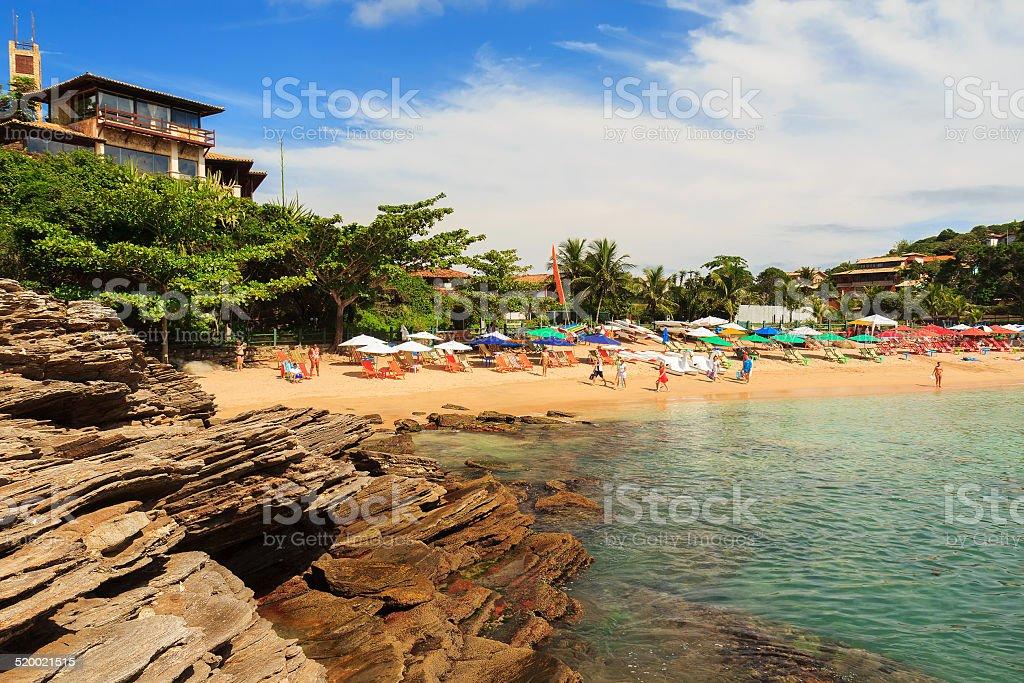 Ferradurinha beach blue sea in Buzios Rio de Janeiro, Brazil stock photo