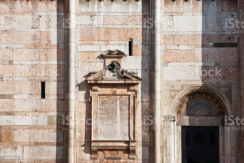 Ferrara Cathedral Facade Detail, Architecture in Italy stock photo