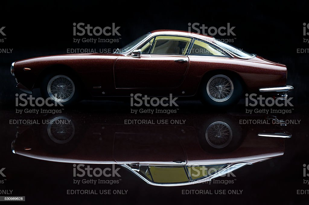 Ferrari 250 GT Lusso Model Car On Black stock photo