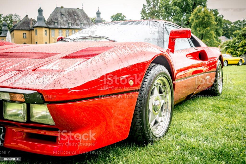 Ferrari 288 GTO 1980s supercar in Ferrari red stock photo