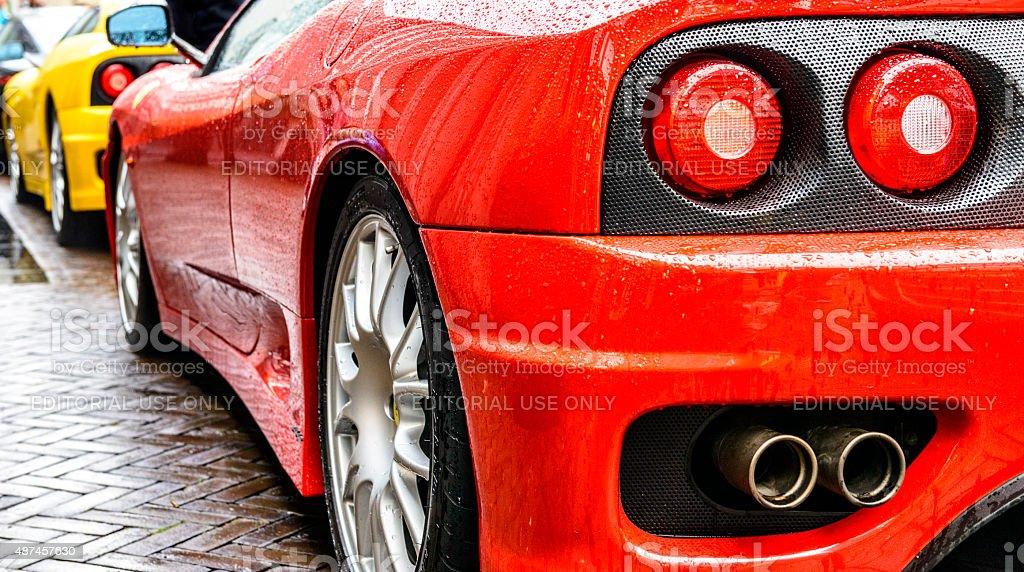 Ferrari 360 Modena Challenge Stradale sports car rear view stock photo