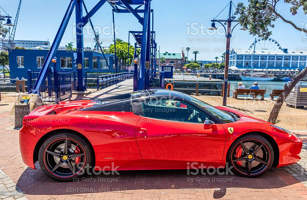 Ferrari 458 Coupe parked at the V&A Waterfront stock photo