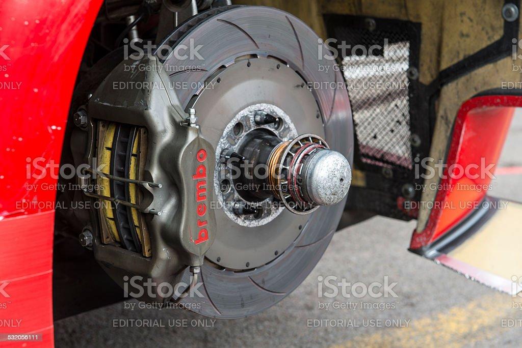 Ferrari 458 Italia GT3 disc brake stock photo