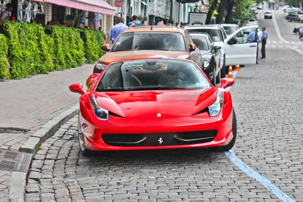 Ferrari 458 Italia In the city. Red Ferrari in the city stock photo