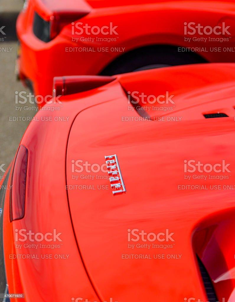 Ferrari 458 Italia Spider sports car rear stock photo