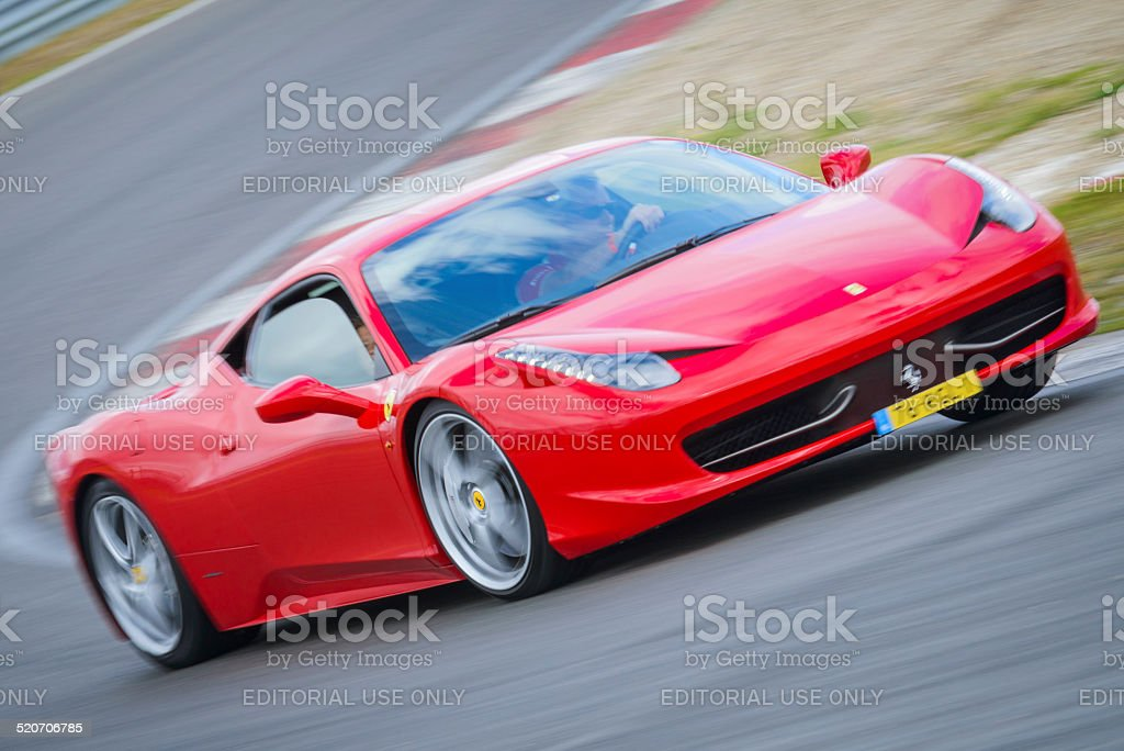 Ferrari 458 Italia sports car driving fast stock photo
