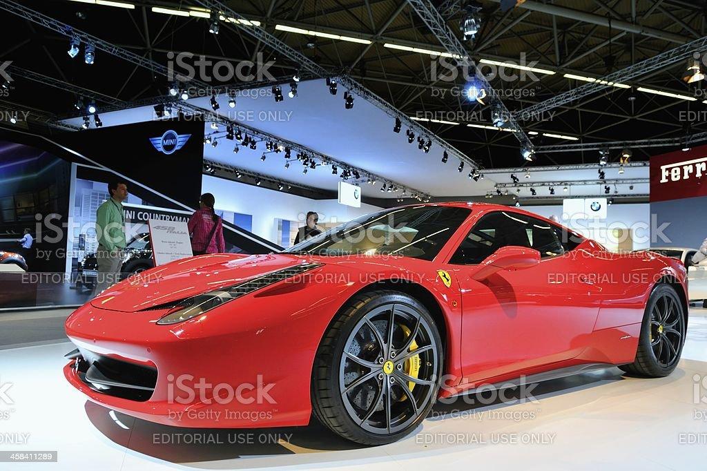 Ferrari 458 Italia sports car front view stock photo
