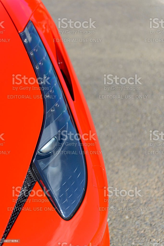 Ferrari 458 Italia sports car headlight stock photo