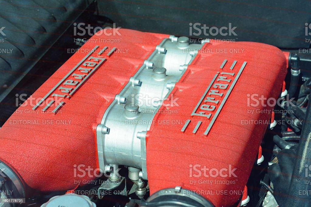 Ferrari 458 Italia V8 engine stock photo