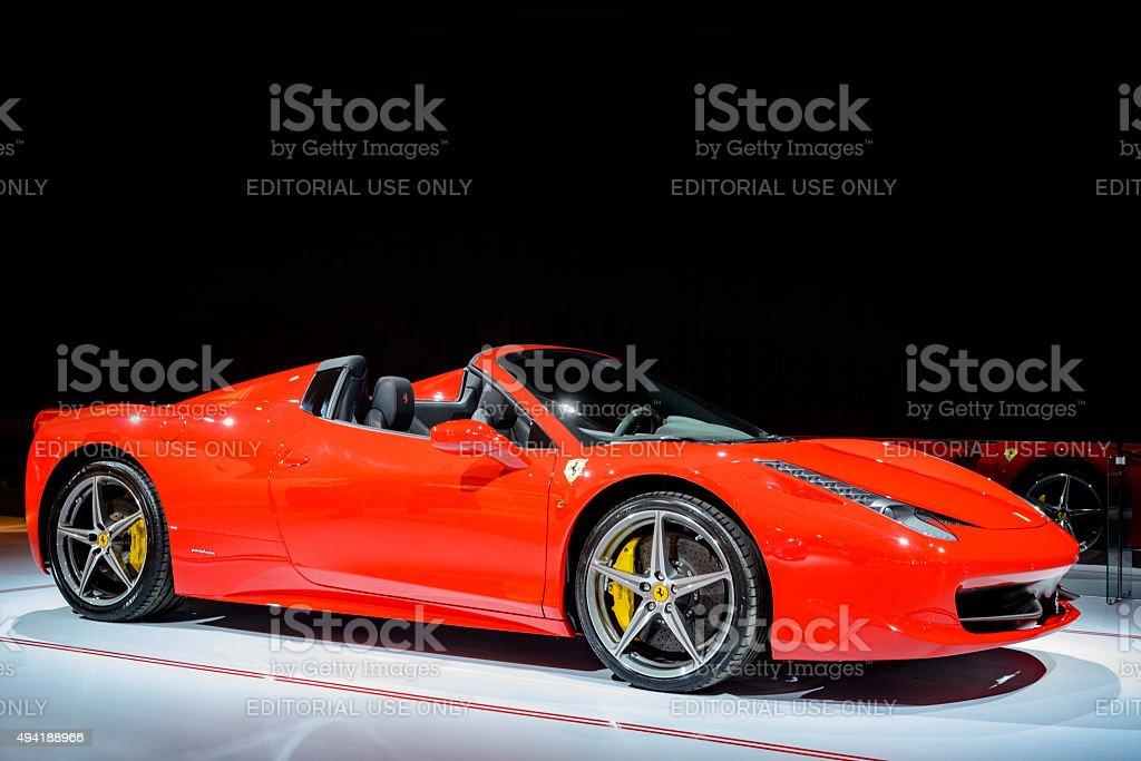 Ferrari 458 Spider Italian sports car stock photo