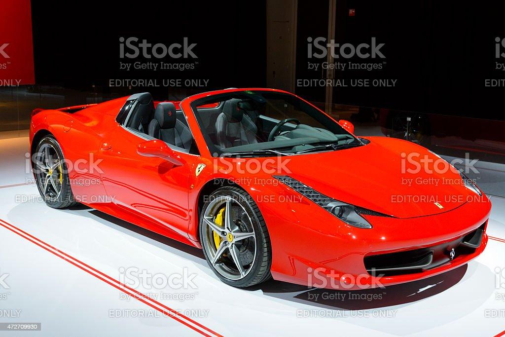 Ferrari 458 Spider sports car front view stock photo