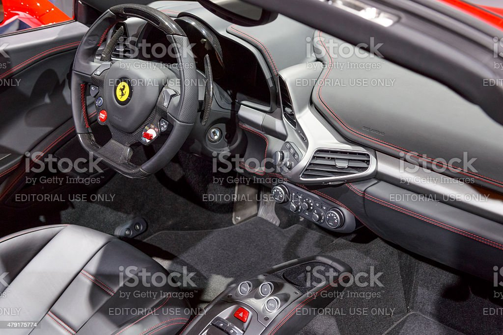 Ferrari 458 Spider Sports Car Interior Royalty Free Stock Photo