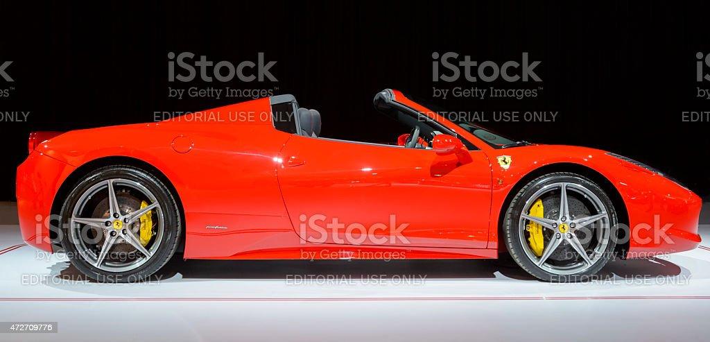 Ferrari 458 Spider sports car side view stock photo