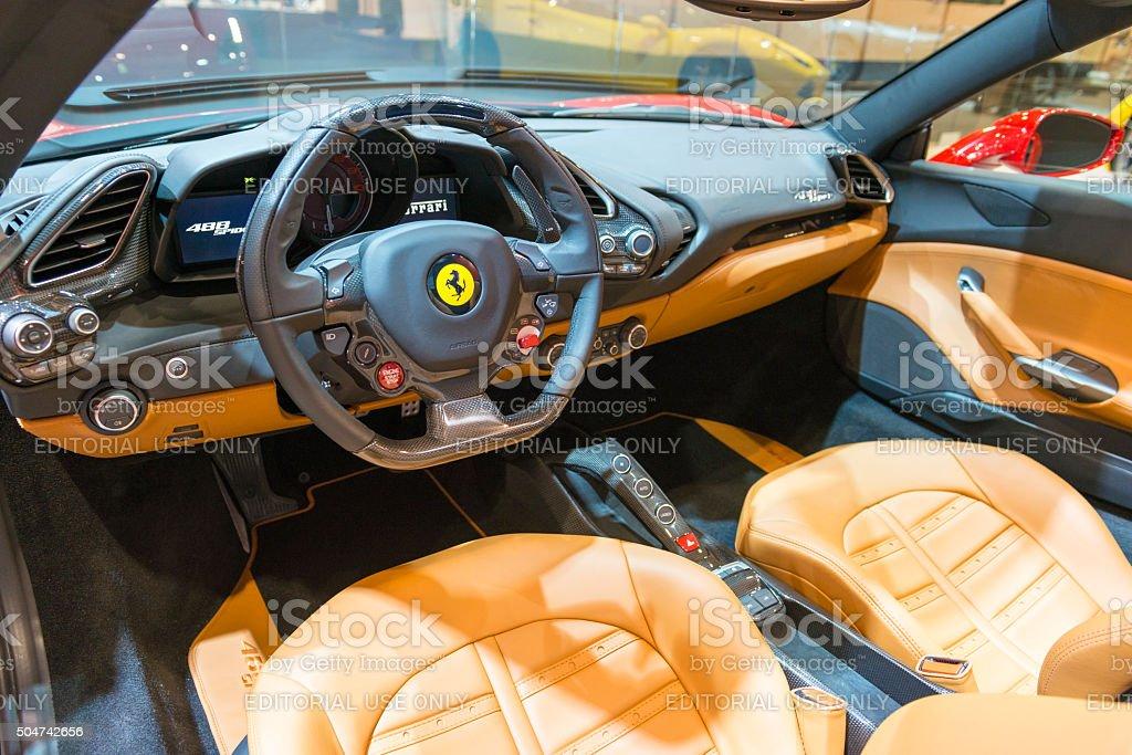 Ferrari 488 Spider Sports Interior Del Coche Foto De Stock Y Mas Banco De Imagenes De 2016 Istock