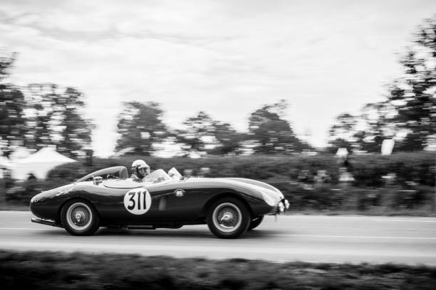 Ferrari 500 Mondial replica racing car Ferrari 500 Mondial replica racing car Swedish Ockelbo-Volvo Sport Racer doing a demonstration drive during the 2017 Classic Days event at Schloss Dyck. ferrari stock pictures, royalty-free photos & images