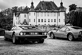 Ferrari 512 BB or Berlinetta Boxer and Ferrari 308 GTB  in black and white