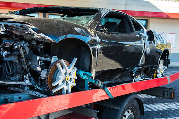 Ferrari after Accident stock photo