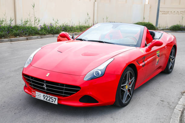 Ferrari California T Abu Dhabi, UAE - November 17, 2018: Italian sportscar Ferrari California T in the city street. ferrari stock pictures, royalty-free photos & images