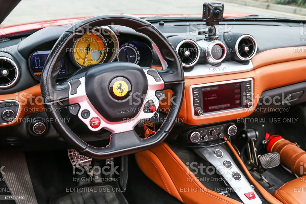 Ferrari California T Abu Dhabi, UAE - November 17, 2018: Interior of the Italian sportscar Ferrari California T. Advertisement Stock Photo