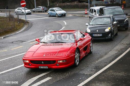 Geneva, Switzerland - March 10, 2019: Retro sportscar Ferrari F355 Berlinetta in the city street.