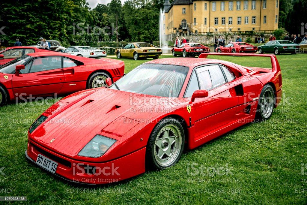 Ferrari F40 supercar of the 1980s at a classic car show stock photo