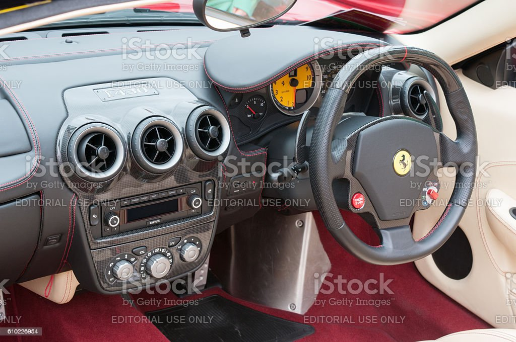Ferrari F430 cockpit taken at Lymington Italian Ferrari day stock photo