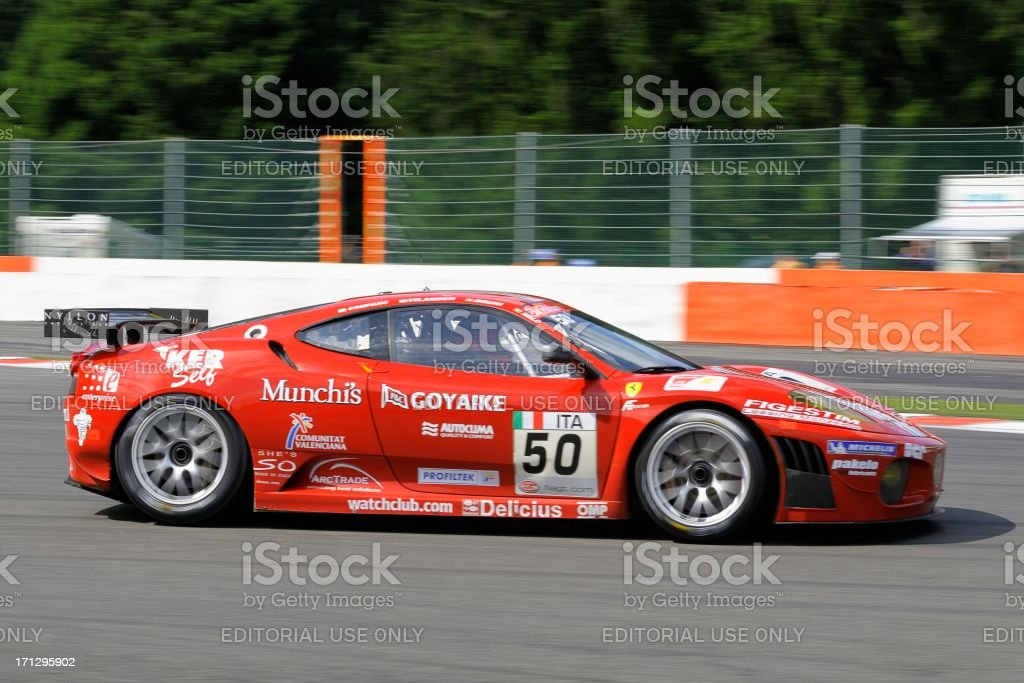 Ferrari F430 GT2 race car at the race track stock photo