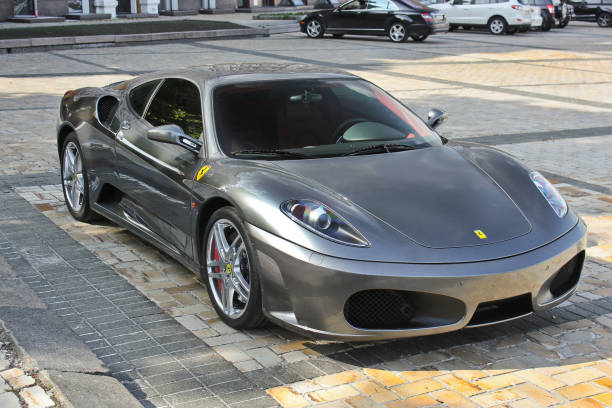 Ferrari F430 in gray in the city stock photo