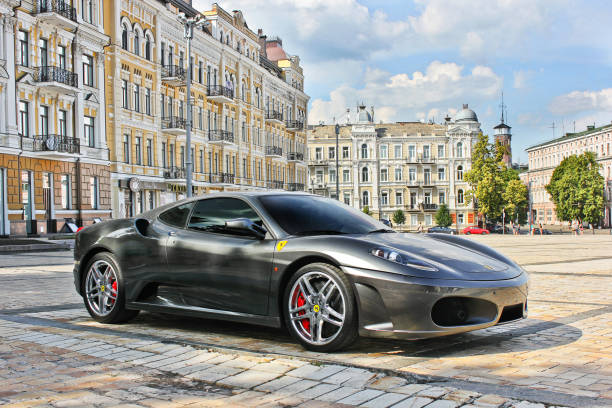 Ferrari F430 in gray on the background of buildings stock photo