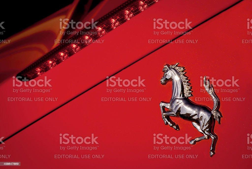 Ferrari Horse Logo Macro on Red Background stock photo